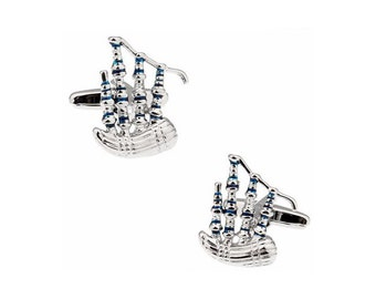 Highland Bagpipes Silver Tone CuffLinks, Best Gift For Dad - Groomsmen Cufflinks - Groomsmen Gifts - Gifts for Him -  Jewelry For Men