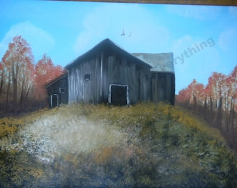 A Rusty Barn in the country side Landscape original fine art Irish oil painting