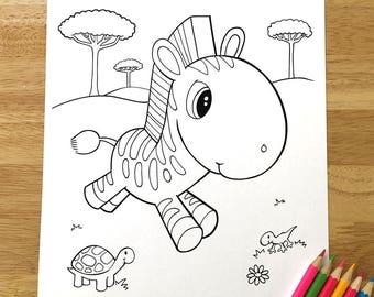 Cute Zebra Coloring Page! Downloadable PDF file!
