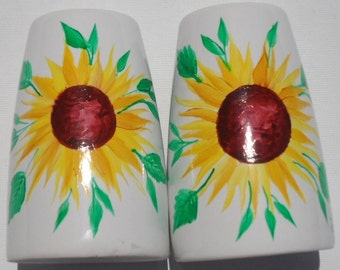 Sunflower Salt and Pepper Shakers Hand Painted Sunflower Porcelain Salt and Pepper Shakers