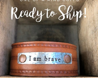 Ready to Ship Cuff - I am brave - Love Squared Designs