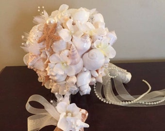 Xo bouquets special bride and bridesmaids listing seashell bouquets