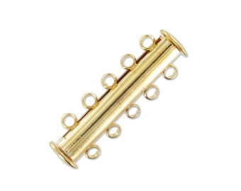 Lobster clasp 5 rows magnetic sliding Gold 30mm