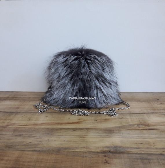 HANdMADE REAl SILVER fOX fUR PURSE SHOULdER & EVENING bAG Womens Bag, Fox Fur Handbag, Leather Bag Women, Tote Bag, Gift For Her, Women Gift