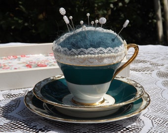 Handcrafted Vintage Tea Cup Pin Cushion - Alice