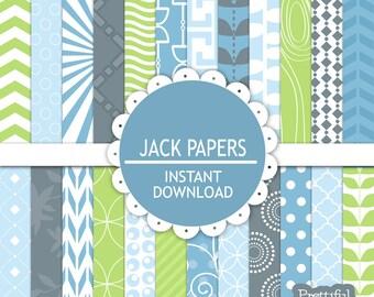 Digital Scrapbooking Printable Baby Boy Paper Pack Jack Papers