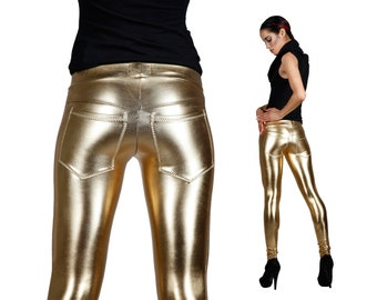 Sample Sale; Gold Leggings w. Jeans Back, Burning Man Leggings, Stage Wear, Metallic Leggings, Rave Wear, Meggings, Dancewear, LENA QUIST