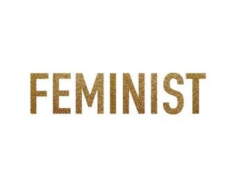 Iron-on Feminist Gold Glitter Decal