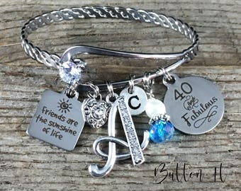 Best friend gift, FRIENDSHIP bracelet, Friend birthday gift, 40th birthday, Gifts for HER, 60th birthday, 50th birthday, birthstone, inital