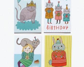 Postcard Set #3 - Bunny, Cats and Birthdays