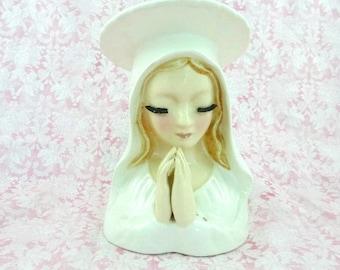 Vintage Nun Headvase Wall Pocket Blonde Eyelashes Head Vase Praying