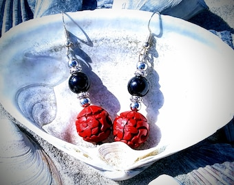 Crimson Red Cinnabar and Black Onyx Beaded Dangle Drop Earrings with Bali Silver Accents