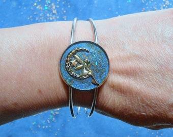 Handmade tree of life or fairy Moon, 30mm stainless steel bracelet
