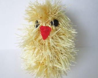 Knitted Toys, Chicken, Crochet Toys, Fluffy, Sweet Birds, Easter, Gift for Kids, Gold, White