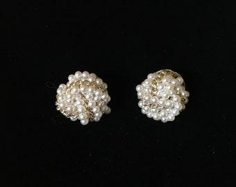 Vintage Clip Earrings, Pearl Like with Goldtone, Cluster