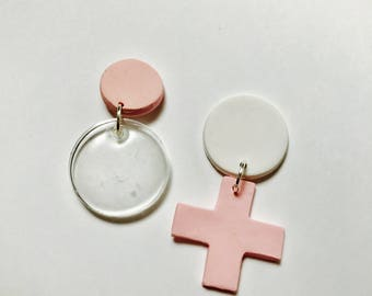 Polymer and Resin Naughts and Cross earrings.