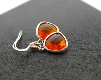 Tangerine Drop Earrings, Amber Earrings, Indian Yellow Dangle Earrings - Also Available in Gold, Sunset Flame Earrings, Bridesmaid Earrings