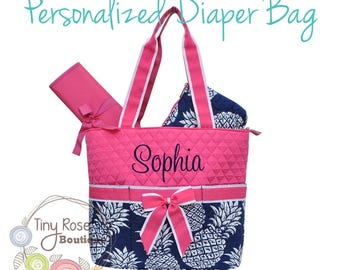 Personalized Diaper Bag -Hot Pink Pineapple Monogrammed Baby Tote, Changing Pad, Mommy Bag