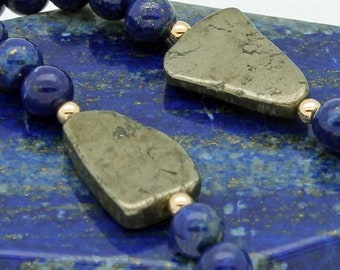 Lapis & pyrite free-form necklace