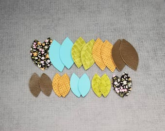 10 pairs of Football or Leaf Shape Leather Pieces, 20 pieces, Smaller and Larger Leather for Jewelry Making, Leather For Earrings