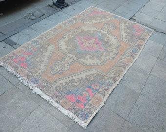 Handmade FADED Rug, Perfect Pastel Colors, Handmade OUSHAK Rug, Vintage Boho Rug, Decorative Turkish Rug, Bohemian Rug, Nomadic Rug -  m25