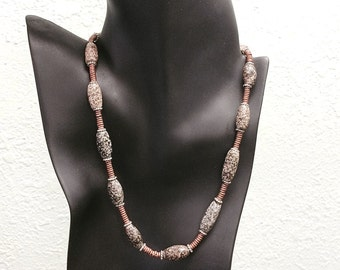 African Trade Bead Granite Necklace. Beads are 200 BC to 300 AD from Mali.  by Kate Drew-Wilkinson