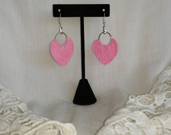 Pink Handmade Crochet little Hoop Earring