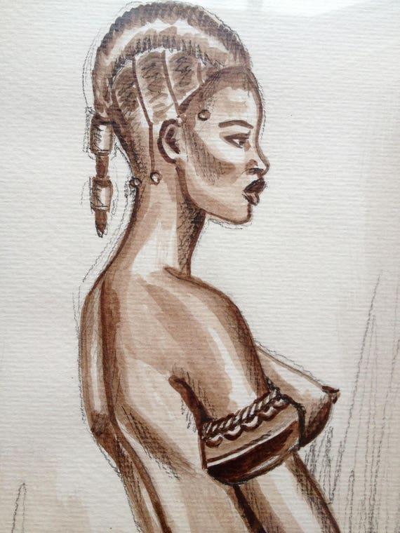 tableau dessin encadr u00e9 femme africaine au bracelet