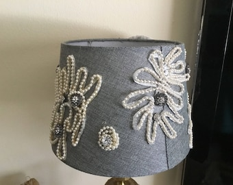 Jeweled/Embellished/Adorned with Pearls Gray Lamp Shade (Reduced)