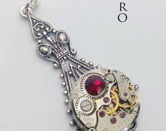 Steampunk Victorian red Necklace - Steampunk Jewelry by Steamretro - Christmas gift - steampunk - steampunk necklace - gothic necklace