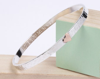 Gift for Wife - Personalised silver bangle with copper or gold heart - Gold Heart Bangle - personalised Bangle - Mothers Day Gift - Mum Gift