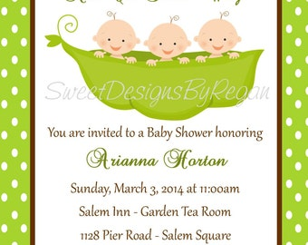 Triplet Baby Shower Invitation - (Digital File) / Triplet Shower - Triplet Invitation For Baby Shower - Peas in a Pod Shower Invitation