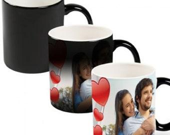 Personalized  Magic Mug Black 11oz Coffee Tea Custom Photo Name Text Logo Gift Ceramic