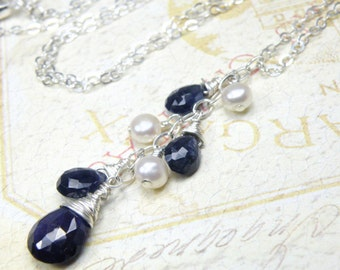 Genuine Sapphire and Freshwater Pearl Necklace, Sterling Silver, Blue Stone September Birthday Birthstone Jewelry, Christmas Gift, Handmade