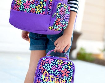 Petal Punch Backpack and Lunch box Set, MONOGRAM INCLUDED, Personalized Backpack, Monogram Backpack, Girl Backpack, Back to School