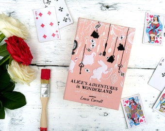 Book Clutch Bag - Alice's Adventures in Wonderland by Lewis Carroll. Women's handmade handbag with 'Curiouser and curiouser' quote.