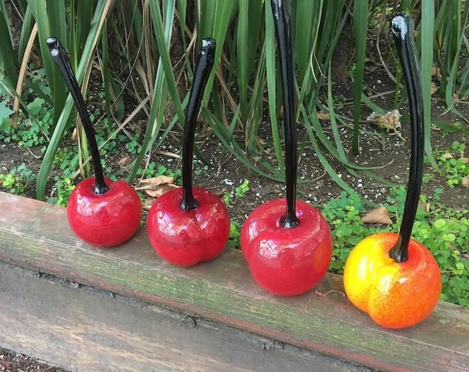 Hand Sculpted Glass Cherry Sculptures