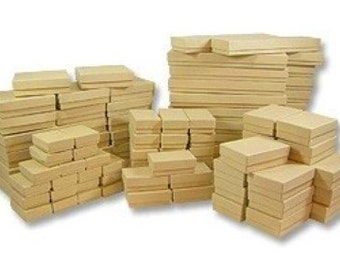 100 Pack - Assorted Sizes in Kraft Brown Paper Jewelry Boxes // ECONOMY SIZE //