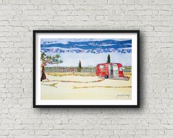 Provence - Red Caravan - France - Haut Var - French Village - Print