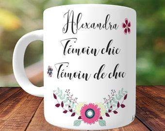 MUG témoin chic témoin de choc personnalisé,mug personnalisé,tasse personnalisée,tasse à personnaliser,mug prénom,tasse cadeau témoin,