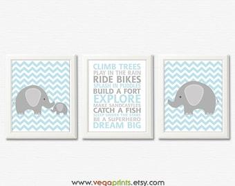 Light blue and grey elephant nursery art print - 8x10 UNFRAMED - boys wall art, baby boy art print, elephant, climb trees, typography, dream