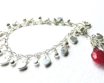 Silver Heart Bracelet, Red Chalcedony Gemstone, Valentine Bracelet for Her, Silver Heart Charm, Love and Romance, Valentine Day Jewelry Gift