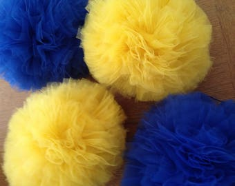 Blue and yellow hanging tulle pompoms