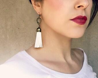 White Tassel Earrings, Faux Leather Tassel Earring, Geometric Jewelry, Shoulder Duster Earrings, Statement Earrings, Extra Long Earrings