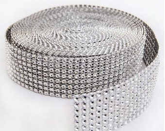 "Silver Diamond Mesh Wrap Roll Rhinestone Crystal Ribbon 1.5"" X 10 Yards - Wedding Decorations Party Supplies Unique  reception theme ideas"