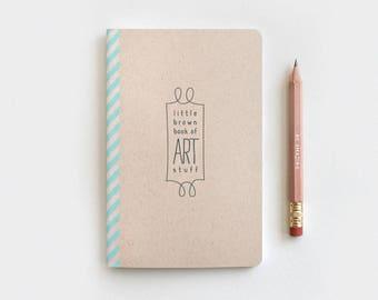 Sketchbook & Gold Foil Pencil Set, Brown Art Journal - Little Brown Book of Art Stuff - Gift for Artist, Recycled Notebook