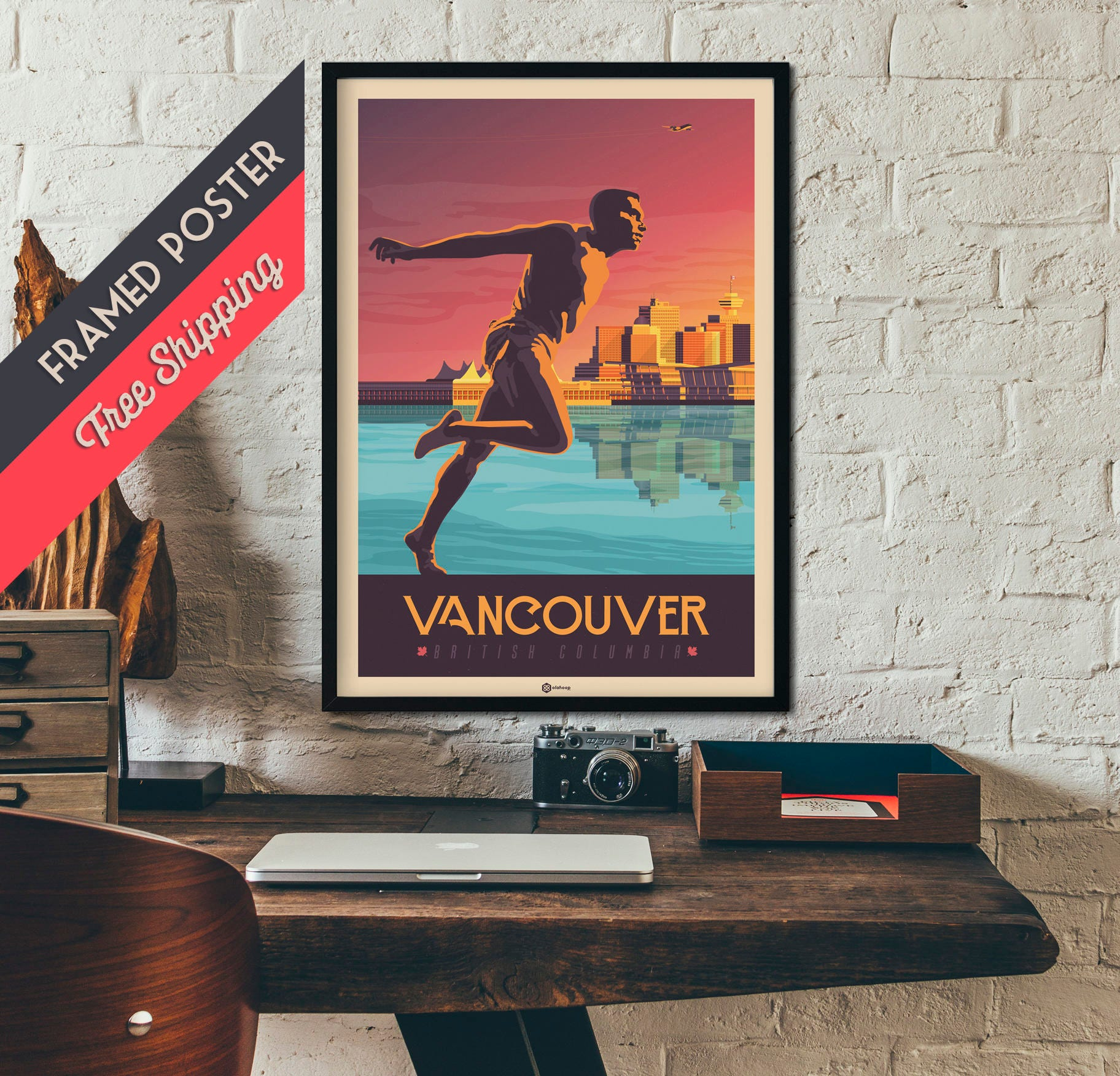 Vancouver Canada   Vintage Travel Poster, Framed Poster, Wall Art, Home  Decoration, Wall Decoration, Gift Idea, Retro Print