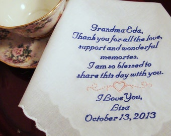 Embroidered Personalized Grandmother of the Bride Handkerchief - Custom Handkerchief - Gift for Grand Mother - FREE Gift Box - Hankie, Hanky