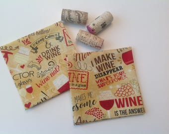 Wine Eco Friendly Cotton Fabric Cocktail Napkins Fabric Beverage Napkins Party Cocktail Napkins - set of 6 or 8