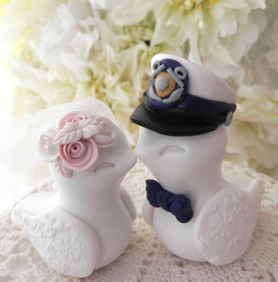 U.S. Coast Guard Wedding Cake Topper, Love Birds, Military Wedding, White, Navy and Blush Pink - Bride and Groom Keepsake